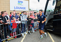 Sheffield Wednesday's Joey Pelupessy gets off the team bus after arriving at Sincil Bank<br /> <br /> Photographer Chris Vaughan/CameraSport<br /> <br /> Football Pre-Season Friendly - Lincoln City v Sheffield Wednesday - Saturday July 13th 2019 - Sincil Bank - Lincoln<br /> <br /> World Copyright © 2019 CameraSport. All rights reserved. 43 Linden Ave. Countesthorpe. Leicester. England. LE8 5PG - Tel: +44 (0) 116 277 4147 - admin@camerasport.com - www.camerasport.com