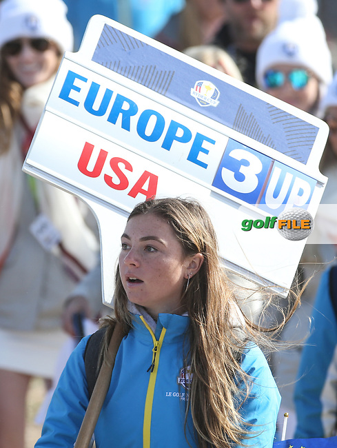 Stunned scorer during Saturday's Fourballs, at the Ryder Cup, Le Golf National, Île-de-France, France. 29/09/2018.<br /> Picture David Lloyd / Golffile.ie<br /> <br /> All photo usage must carry mandatory copyright credit (© Golffile | David Lloyd)