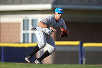 Hudson Valley Renegades first baseman Nathaniel Lowe (36) fields a ground ball during a game against the Batavia Muckdogs on July 31, 2016 at Dwyer Stadium in Batavia, New York.  Hudson Valley defeated Batavia 4-1.  (Mike Janes/Four Seam Images)