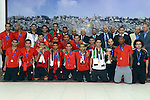 Palestinian President Mahmoud Abbas receives the Palestinian national football team which won the AFC Challenge Cup, at Abbas's office in the West Bank city of Ramallah on June 1, 2014. Palestine qualified for their maiden Asian Cup appearance with a 1-0 win over injury-hit Philippines in the final of the AFC Challenge Cup in Maldives. Photo by Thaer Ganaim