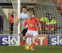 Mark Cullen of Blackpool formerly of Luton Town holds up the ball during the Sky Bet League 2 match between Blackpool and Luton Town at Bloomfield Road, Blackpool, England on 17 December 2016. Photo by Liam Smith.