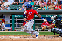 Buffalo Bisons outfielder Jonathan Davis (2) swings at a pitch during an International League game against the Indianapolis Indians on July 28, 2018 at Victory Field in Indianapolis, Indiana. Indianapolis defeated Buffalo 6-4. (Brad Krause/Four Seam Images)