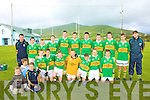 The Skellig Rangers team who played St. Mary's Cahersiveen in the U16 South Kerry final in Renard were front l-r;Anthony O'Driscoll, Patrick O'Connell, Aron O'Shea, Padraig O'Sullivan, Brendan Murphy, Ronan O'Shea, Stephen Murphy, back l-r;Brendan Murphy(Selector), Diarmuid Keating, Brian Kennedy, Paul Lynch, Kieran Keating, Mike Keating, Benedict Gross, Brian Murphy, Damien Murphy, Anthony Tyler & Garry O'Sullivan(Selector).
