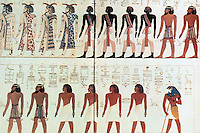 Egyptian Tomb Paintings: Tomb of Seti I, Valley of the Kings, 1300 BC.  Many races, from right, Libyans, Nubians, Canaanites.  Horus, symbol of living king at end. Bottom row, from right--2 Canaanites, 4 Egyptians. Males painted red; women, yellow. Reference only.
