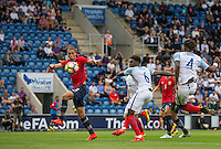 Nathaniel Chalobah (Chelsea) scores his goal during the International EURO U21 QUALIFYING - GROUP 9 match between England U21 and Norway U21 at the Weston Homes Community Stadium, Colchester, England on 6 September 2016. Photo by Andy Rowland / PRiME Media Images.