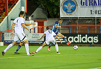 Nick Freeman of Wycombe Wanderers has a shot on goal during the Friendly match between Aldershot Town and Wycombe Wanderers at the EBB Stadium, Aldershot, England on 26 July 2016. Photo by Alan  Stanford.