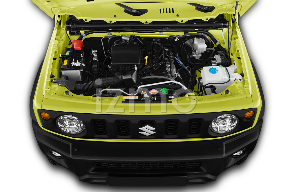 Car Stock 2019 Suzuki Jimny GLX 5 Door SUV Engine  high angle detail view