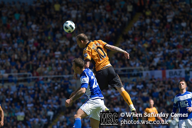 Birmingham City 1 Wolverhampton Wanderers 1, 01/05/2011. St Andrews, Premier League. Wolves goalscorer Steven Fletcher outjumps Martin Jiranek at St. Andrew's stadium, during Birmingham City's Barclay's Premier League match with Wolverhampton Wanderers. Both clubs were battling against relegation from  England's top division. The match ended in a 1-1 draw, watched by a crowd of 26,027. Photo by Colin McPherson.