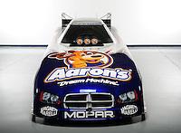 Jan. 8, 2012; Brownsburg, IN, USA; The car of NHRA funny car driver Matt Hagan during a photo shoot at the Don Schumacher Racing shop. Mandatory Credit: Mark J. Rebilas-