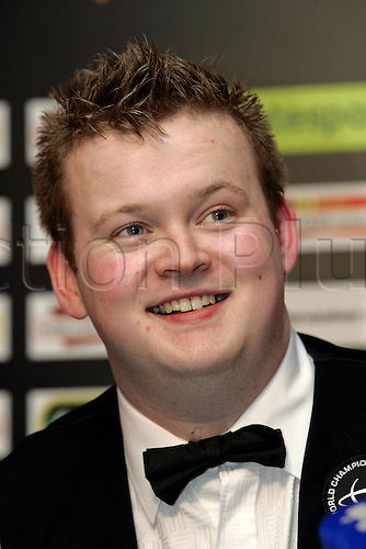 2 May 2005: Portrait of English player Shaun Murphy at a press conference following his win against Stevens in the Final of the Embassy World  Snooker Championships held at the Crucible Theatre, Sheffield. Murphy was a 150-1 outsider at the start of the tournament and is the first qualifier to win the world title since 1979 by beating Stevens 18-16 in the final. Photo: Neil Tingle/Action Plus..050502