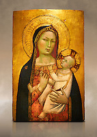 Gothic altarpiece of Madonna and Child by Bernardo Daddi, circa 1340-1345, tempera and gold leaf on wood.  National Museum of Catalan Art, Barcelona, Spain, inv no: MNAC  212806. Against a art background.