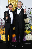 HOLLYWOOD, LOS ANGELES, CA, USA - MARCH 02: Emmanuel Lubezki, Bill Murray at the 86th Annual Academy Awards - Press Room held at Dolby Theatre on March 2, 2014 in Hollywood, Los Angeles, California, United States. (Photo by Xavier Collin/Celebrity Monitor)