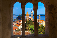 View fro St John Church tower over the medieval roof tops of Rab town . Rab Island, Craotia
