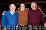 Mike Murphy (Scartaglin), Larry Long and JJ Healy from Lyracrompane attending the Sliabh Luachra Active Retired NetworkTea Dance in the River Island Hotel in Castleisland on Sunday.