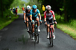 Original breakaway riders Oliver Naesen (BEL) AG2R La Mondiale and Magnus Cort Nielsen (DEN) Astana Pro Team are joined by Bjorg Lambrecht (BEL) Lotto Soudal during Stage 1 of the Criterium du Dauphine 2019, running 142km from Aurillac to Jussac, France. 9th June 2019<br /> Picture: ASO/Alex Broadway | Cyclefile<br /> All photos usage must carry mandatory copyright credit (© Cyclefile | ASO/Alex Broadway)
