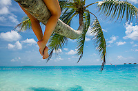 Maldives, Rangali Island. Conrad Hilton Resort. Woman in Palm tree over the ocean,.