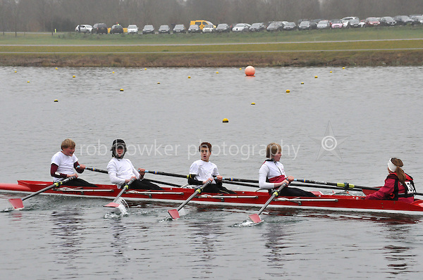 130 MarlowRC J15A.4x+..Marlow Regatta Committee Thames Valley Trial Head. 1900m at Dorney Lake/Eton College Rowing Centre, Dorney, Buckinghamshire. Sunday 29 January 2012. Run over three divisions.