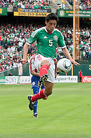 Ricardo Osorio kicks the ball. Mexico defeated Paraguay 3-1 at the Oakland Coliseum in Oakland, California on March 26th, 2011.