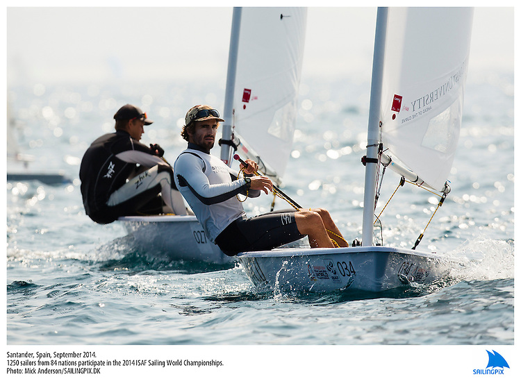 20140912, Santander, Spain: 2014 ISAF SAILING WORLD CHAMPIONSHIPS - More than 1,250 sailors in over 900 boats from 84 nations will compete at the Santander 2014 ISAF Sailing World Championships from 8-21 September 2014. The best sailing talent will be on show and as well as world titles being awarded across ten events 50% of Rio 2016 Olympic Sailing Competition places will be won based on results in Santander.. Photo: Mick Anderson/SAILINGPIX.DK. Keywords: Sailing, water, sport, ocean, boats, olympic, dinghy, dinghies, crew, team, sail. Filename: _49A2015.CR2.