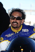 Nov 11, 2010; Pomona, CA, USA; NHRA pro stock motorcycle rider Freddie Camarena during qualifying for the Auto Club Finals at Auto Club Raceway at Pomona. Mandatory Credit: Mark J. Rebilas-