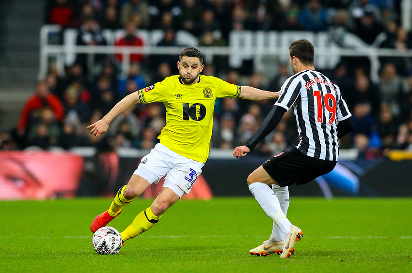 Blackburn Rovers' Craig Conway takes on Newcastle United's Javi Manquillo<br /> <br /> Photographer Alex Dodd/CameraSport<br /> <br /> Emirates FA Cup Third Round - Newcastle United v Blackburn Rovers - Saturday 5th January 2019 - St James' Park - Newcastle<br />  <br /> World Copyright © 2019 CameraSport. All rights reserved. 43 Linden Ave. Countesthorpe. Leicester. England. LE8 5PG - Tel: +44 (0) 116 277 4147 - admin@camerasport.com - www.camerasport.com