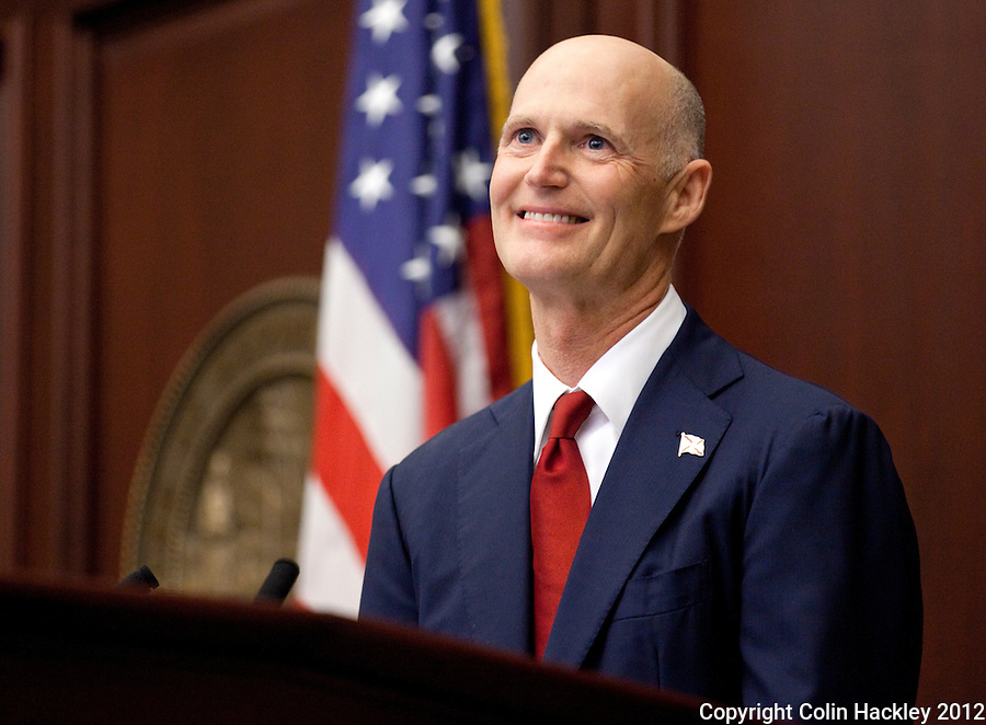 TALLAHASSEE, FLA. 1/10/12-OPENING011012 CH-Gov. Rick Scott gives the State of the State address during the opening day of the 2012 legislative session Tuesday at the Capitol in Tallahassee...COLIN HACKLEY PHOTO
