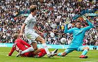 Leeds United's Patrick Bamford sees his shot saved by Nottingham Forest's Arijanet Muric<br /> <br /> Photographer Alex Dodd/CameraSport<br /> <br /> The EFL Sky Bet Championship - Leeds United v Nottingham Forest - Saturday 10th August 2019 - Elland Road - Leeds<br /> <br /> World Copyright © 2019 CameraSport. All rights reserved. 43 Linden Ave. Countesthorpe. Leicester. England. LE8 5PG - Tel: +44 (0) 116 277 4147 - admin@camerasport.com - www.camerasport.com