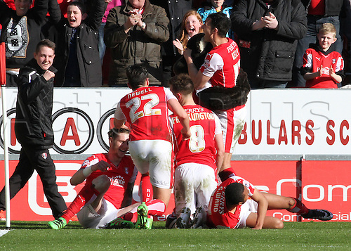 02.04.2016. New York Stadium, Rotherham England.  Sky Bet Championship Rotherham versus Leeds United. Rotherham playes pile on Greg Halford after he scores the winning penalty in the 90th minute
