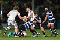 Darren Barry of Worcester Warriors is double-tackled. Aviva Premiership match, between Worcester Warriors and Bath Rugby on January 5, 2018 at Sixways Stadium in Worcester, England. Photo by: Patrick Khachfe / Onside Images