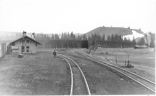 View from rear of D&amp;RGW eastbound train departing Cumbres.<br /> D&amp;RGW  Cumbres, CO  Taken by Treptow, Russell F. - 6/7/1942