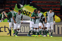 MEDELLIN -COLOMBIA- 01 -12 -2013. Juan Pablo Angel  del Atletico Nacional celebra su gol contra el Atletico Junior , encuentro de los cuadrangulares finales de la Liga Postobon jugado en el estadio Atanasio Girardot /  Juan Pablo Angel's Atletico Nacional celebrates his goal against Atletico Junior, meeting the end-runs Postobon League played at Atanasio Girardot stadium .Photo: VizzorImage / Luis Rios  / Stringer