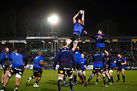 Bath Rugby forwards in action during the pre-match warm-up. European Rugby Champions Cup match, between Bath Rugby and the Scarlets on January 12, 2018 at the Recreation Ground in Bath, England. Photo by: Patrick Khachfe / Onside Images