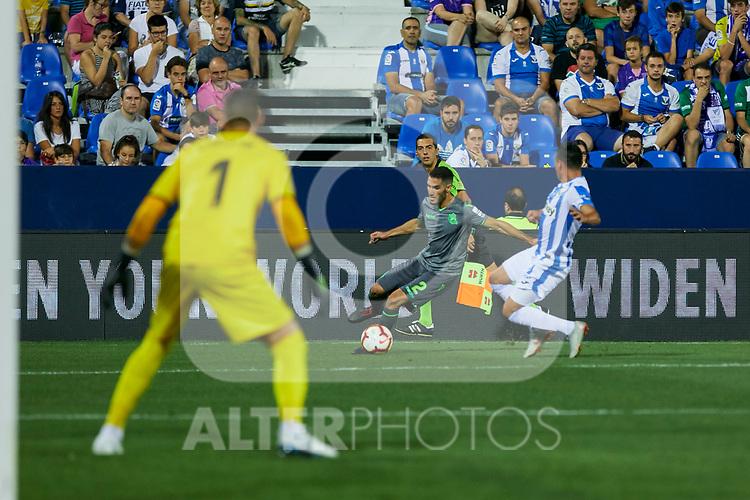 Leganes' Jonathan Cristian Silva and Real Sociedad's Joseba Zaldua during La Liga match. August 24, 2018. (ALTERPHOTOS/A. Perez Meca)