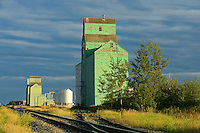 Old grain elevators on the Canadian Prairie<br /> Sexsmith<br /> Alberta<br /> Canada