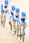 The team of Italy with Elisa Balsamo, Simona Frapporti, Francesca Pattaro and Silvia Valsecchi competes in the Women's Team Pursuit - 1st Round as part of the 2017 UCI Track Cycling World Championships on 13 April 2017, in Hong Kong Velodrome, Hong Kong, China. Photo by Marcio Rodrigo Machado / Power Sport Images