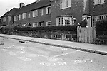 "Royal May Day Knutsford, Cheshire, England. 1973. Sand Painting out side the home of May Queen's grandfather. It reads ""God Bless Our Royal May Queen.""Eliane Murray 1973 May Queen."