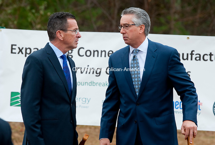 TORRINGTON, CT--- -111915JS07--Gov. Dannel P. Malloy talks with Arthur &lsquo;Chip&rsquo; Bottone, President and Chief Executive Officer of FuelCell Energy, following a ground-breaking ceremony at FuelCell Energy in Torrington on Thursday. The company will expand their facility by over 100,000 square-feet. <br /> Jim Shannon Republican-American