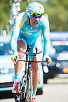 SITTARD, NETHERLANDS - AUGUST 16: Dmitriy Gruzdev of Kazakhstan riding for Astana Pro Team competes during stage 5 of the Eneco Tour 2013, a 13km individual time trial from Sittard to Geleen, on August 16, 2013 in Sittard, Netherlands. (Photo by Dirk Markgraf/www.265-images.com)