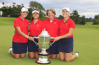 Kristen Gillman, Lilia Vu, Jennifer Kupcho and Team Captain Stasia Collins Team USA with the Espirito Santo Trophy after the final of the World Amateur Team Championships 2018, Carton House, Kildare, Ireland. 01/09/2018.<br /> Picture Fran Caffrey / Golffile.ie<br /> <br /> All photo usage must carry mandatory copyright credit (© Golffile | Fran Caffrey)