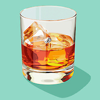 Glass of whisky on the rocks