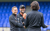Liverpool Manager Jurgen Klopp & first team coach Pepijn Ljinders (left) during the 2016/17 Pre Season Friendly match between Tranmere Rovers and Liverpool at Prenton Park, Birkenhead, England on 8 July 2016. Photo by PRiME Media Images.