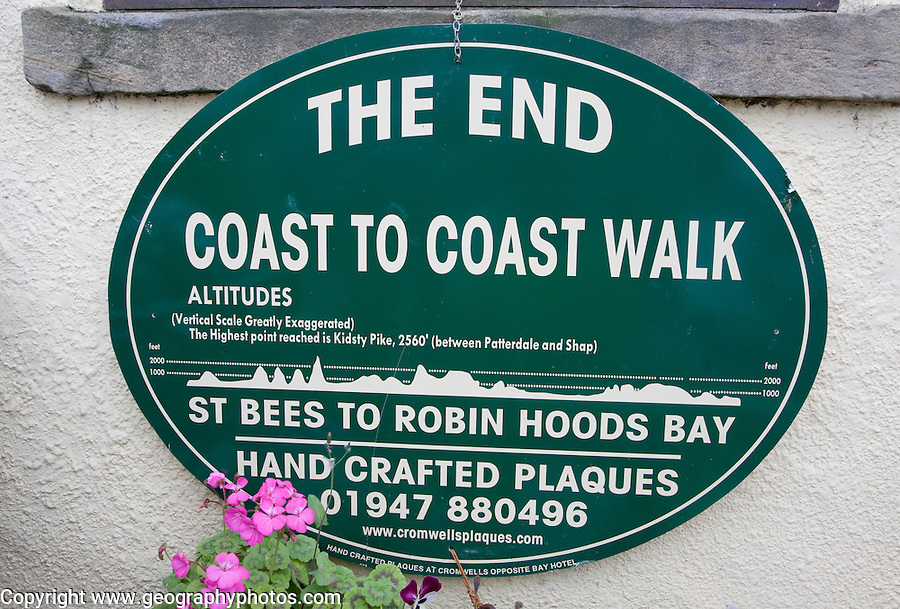 Sign showing the end of the Coast to Coast walk from St Bees to Robin Hoods Bay, England