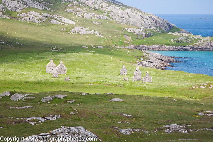 Abandoned croft houses in deserted village, Eorasdail, Vatersay Island, Barra, Outer Hebrides, Scotland, UK