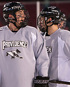 Scott Conway (PC - 10), Spencer Young (PC - 21) - The Providence College Friars practiced on the rink at Fenway Park on Friday, January 6, 2017.