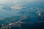 Aerial above Valparaiso and Choctawhatchee Bay; Florida