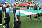 09 August 2008: Olympic volunteers carry the flag of Nigeria onto the field, pregame.  The women's Olympic soccer team of Germany defeated the women's Olympic soccer team of Nigeria 1-0 at Shenyang Olympic Sports Center Wulihe Stadium in Shenyang, China in a Group F round-robin match in the Women's Olympic Football competition.