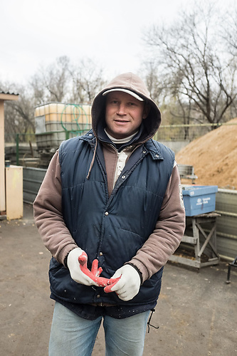 Anatolij is working as a builder at the territory of the Church of Feodor Tiron in Moscow