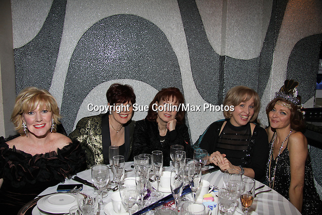 Broadway's Missy Keene (L) and Nancy Opel (2nd R) both performed tonight, friend and Victoria Regan pose with Anne Sayre (As The World Turns) at The Times Square Broadway Royale on New Years Eve 2014 at the legendary Copacabana, New York City, New York. (Photo by Sue Coflin/Max Photos)