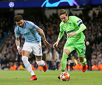 FC Schalke 04&rsquo;s Bastian Oczipka under pressure from Manchester City's Kyle Walker<br /> <br /> Photographer Rich Linley/CameraSport<br /> <br /> UEFA Champions League Round of 16 Second Leg - Manchester City v FC Schalke 04 - Tuesday 12th March 2019 - The Etihad - Manchester<br />  <br /> World Copyright &copy; 2018 CameraSport. All rights reserved. 43 Linden Ave. Countesthorpe. Leicester. England. LE8 5PG - Tel: +44 (0) 116 277 4147 - admin@camerasport.com - www.camerasport.com