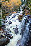 temporary waterfalls feed Glacier Creek in Glacier Gorge, Rocky Mountain National Park, Colorado, USA